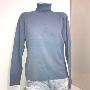 Nygard Petites Baby Blue Ribbed Turtleneck Sweater